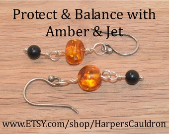 Orange Amber & Jet Earrings, on Silver-plated headpin and eyepin, and Sterling Silver Fish hook Earwires