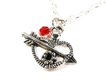 Silver Heart Pendant Necklace, Valentine's Day Necklace, Ruby Red Glass, Charm Necklace, Beadwork Jewelry, Heart with Arrow, Costume Jewelry