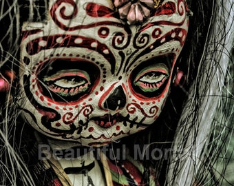Beautiful Mortal Dia De Los Muertos Tattooed Doll Doll Canon PRINT 339 Reproduction by Michae Brown