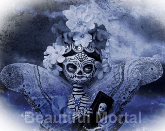 Beautiful Mortal Dia de Los Muertos Blue Coffin Butterfly Doll PRINT 558 by Michael Brown