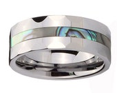 Personalize 8mm Tungsten Carbide Abalone Inlay Men Band Ring Size 5 to 12