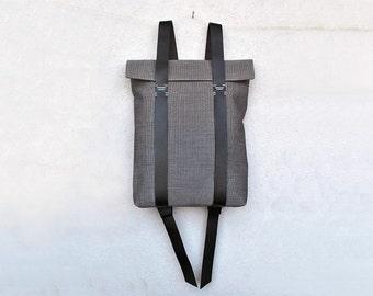 Grey backpack waterproof canvas, leather straps, minimalist rucksack personalized, custom rucksack 201