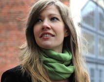"""Sale! Solid Color Scarf on Merino and Angora Blend -"""" Leaf Green"""""""