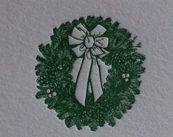 Christmas Wreath Letterpress Note Cards (Set of 10)