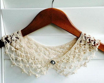 Ecru Crocheted Peter Pan Collar, Necklace For Her, Gift for Her, Gift Ideas, For Mom, Summer Gifts