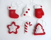 Felt Christmas Ornaments-Felt Stocking , Tree, Mitten, Star,Candy Cane, Bel ornaments, Red and white Christmas ornamets,  Tree Decorations