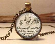 Winnie the Pooh quote necklace. inspirational quote. jewelry necklace.classic pooh. pooh. pendant necklace (Pooh #1)