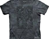Woman's or men's t-shirt, celtic cross ,multicolored, stonewashed, size xl, preshrunk cotton
