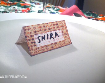 Printable Passover Place Cards / Matza Tent Cards / Funny Blank Name Tags for Passover 2015 Seder Table Crafts פסח Matzo // Instant Download