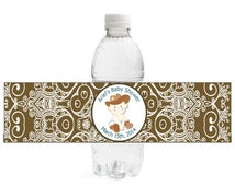Personalized Lil' Cowboy Water Bottle Labels- Lil' Cowboy Baby Shower Collection - DIY Digital File