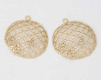 Small butterfly Round Pendant Matte Gold -Plated - 2 Pieces <P0287-MG>