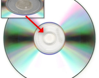 Clear CD / DVD Solid Rubber Hubs with adhesive back - Pack of 32 hubs (CDHB32-32)