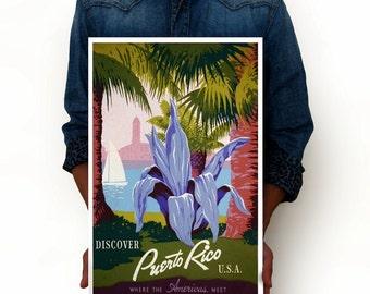 "Puerto Rico Vintage Poster of America Art Print, Art Posters City Poster Minimalist Art 13"" x 19"""