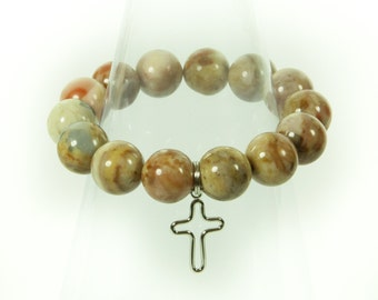 Designer Howlite Gemstone Stretch Bracelet With Cross Charm.