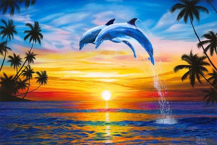 Dolphin Sunset Art Print Dolphins Art Ocean Palm Trees Art