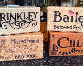 Engraved Pet Brick: Personalized keepsake or memorial landmark stone
