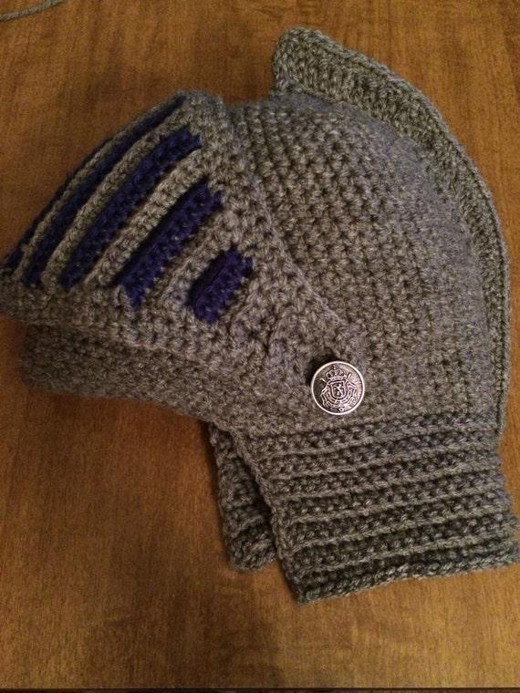Crocheted Knights Helmet for Adults Pattern with by OMadFruit