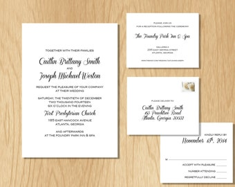 DIY Elegant Wedding Invitation SET, wedding invitation download, printable