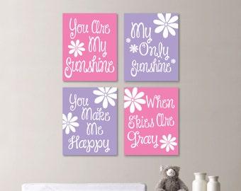 Baby Girl Nursery Art Print - You Are My Sunshine Nursery - You Are My Sunshine Wall Art - Girl Bedroom - Flower Art - Pink Lavender -NS-655