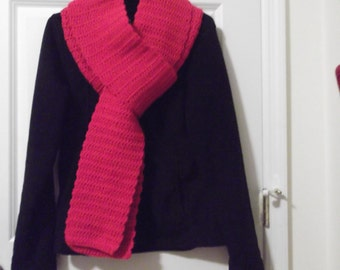 Long Red Crochet Scarf (B)