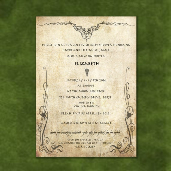 Lord of the Rings Digital Printable Birthday/Wedding/Shower Invitation