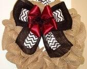 Burlap Wreath with Maroon, White, & Black Chevron Ribbon Bow