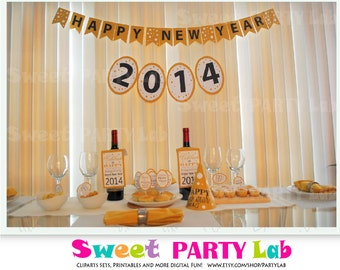 2015 New Year's Eve Party Printable Party Set, Elegant DIY New Year's Eve Decoration Happy New Year Decor D002