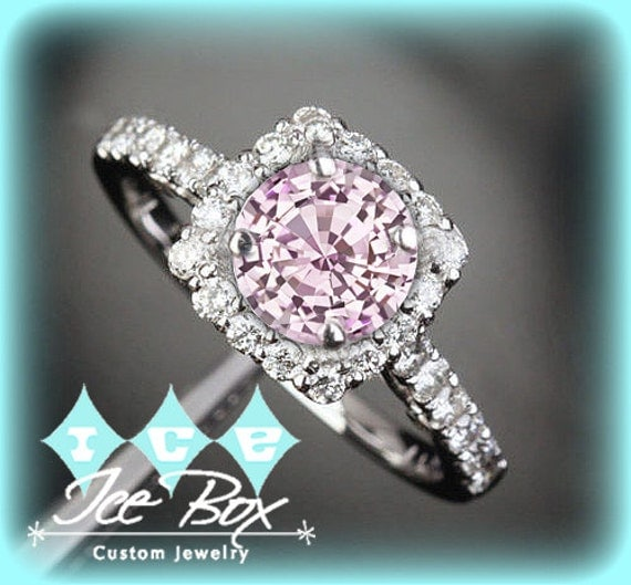Cultured Pink Sapphire Engagement Ring 1 4ct 6 5mm by InTheIceBox
