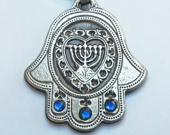 3 gems keychain Hamsa menorah within heart love KeyRing Hebrew Travelers Prayer
