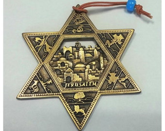 Gold Star of Magen David wall hanging Jerusalem old city ornament from Israel