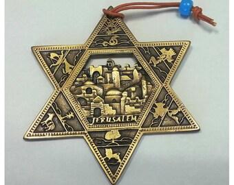 Gold Star of Magen David wall hanging Jerusalem old city ornament from Israel