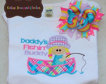 GIRL - Daddy's Fishin Buddy Applique Shirt and Matching Hairbow - Summer - Fishing - Boat