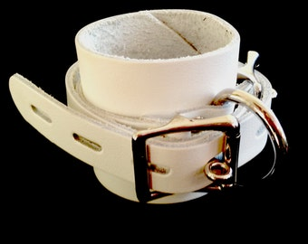 Leather Ankle Cuffs,  White