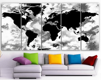 5 panel world map etsy gumiabroncs Choice Image
