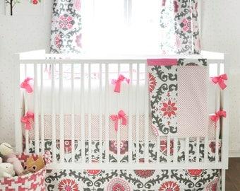 Ragamuffin in Pink Crib Bedding   Swatches