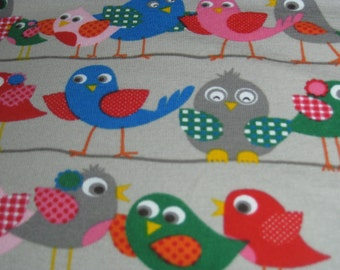 Birds on a Wire in Grey by Stenzo - Premium Euro Cotton Jersey Knit 5503