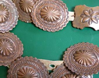 Concho belt, looks like it's copper pieces, 7 pieces plus belt buckle