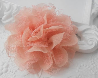 """Peach Frayed  Lace chiffon flower,LC1, mesh,approx. 3.5""""  or 9 cm in diameter , use in DIY craft for baby,children accessories"""