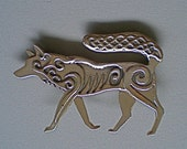 Celtic Wolf Brooch or Pendant in Bronze
