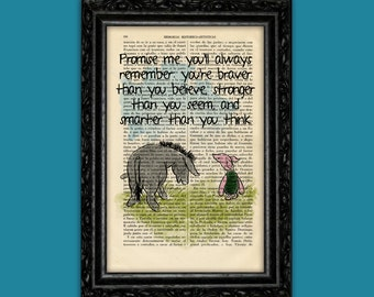 Winnie the Pooh Eeyore and Piglet old book page art print Quote Original Poster Dorm Room Print Gift Wall Decor Dictionary (Nº1)