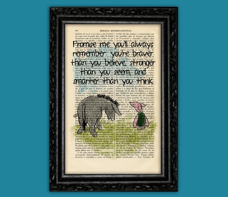 Winnie the pooh eeyore and piglet old book page art print zoom amipublicfo Images