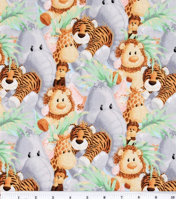 Items similar to jungle animal crib bumper pads on etsy for Baby themed fabric