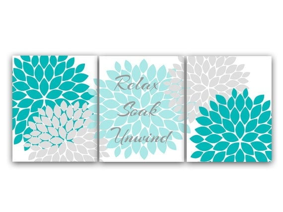 Bathroom canvas or prints wall art relax soak unwind aqua for Aqua colored bathroom accessories