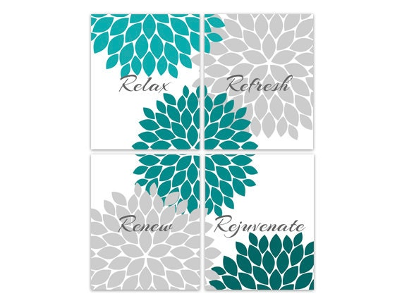 Teal grey bathroom decor bathroom wall art relax refresh for Teal and grey bathroom sets