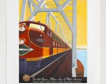 Travel Poster Railroad Art Train Print (TR64)