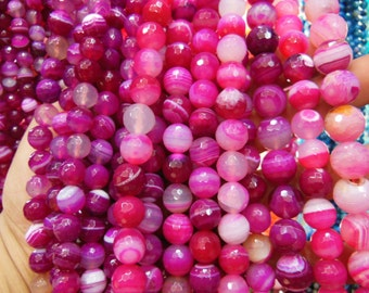 faceted agate beads, hot pink color, 15.5 inch.