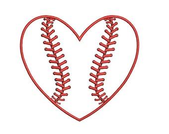 Heart Baseball Applique Machine Emb roidery Digitized Design Pattern ...