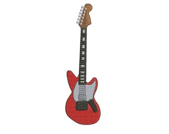 Electric Guitar Applique Machine Embroidery Musical Instrument Filled Digitized Pattern- instant download - 4x4 , 5x7, and 6x10 -hoops