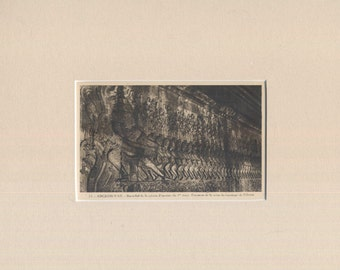 Angkor Wat, Cambodia - Sculptural relief - Antique Postcard in new mat.