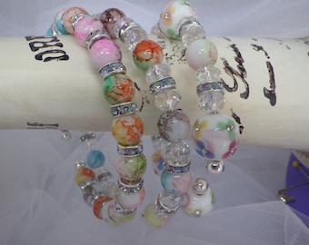 BANGLE Bracelet SET 3 Different Designed Silver Plated Bracelets with SWAROVSKI Crystal Glass Beads Very Popular ~ Stylish~ Must Have